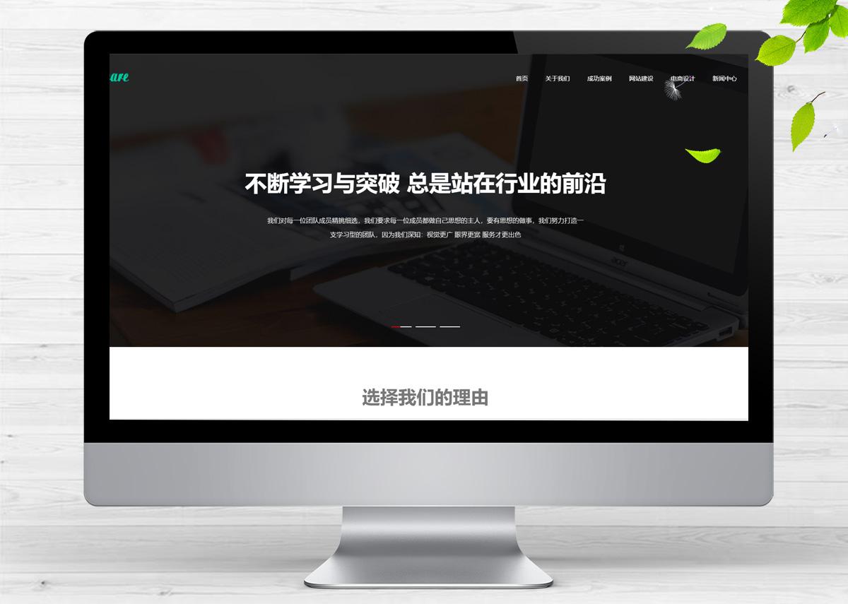 响应式高端网站建设互联网营销类呼啦网站模板H-137